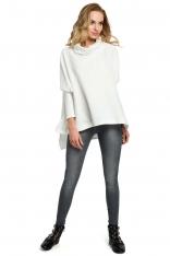 Ecru Oversizowa Asymetryczna Bluza z Luźnym Golfem