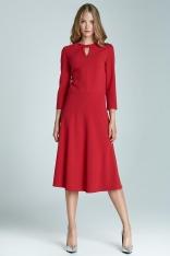 Czerwona Kobieca Rozkloszowana Sukienka Midi z Pęknięciem przy Dekolcie