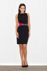 Czarna Sukienka Wizytowa Bodycon z Kontrastową Szarfą