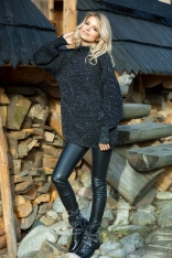 Czarny Długi Połyskujący Sweter z Golfem