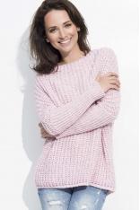 Różowy Cieplutki Luźny Sweter z Angielskim Ściegiem