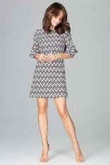 Krótka Sukienka o Linii A w Geometryczny Wzór