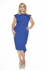 Stylowa Niebieska Sukienka z Falbanką PLUS SIZE