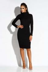 Czarna Sukienka z Wycięciem na Plecach