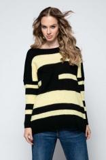 Czarny Luźny Sweter w Paski z Naszytą Kieszenią