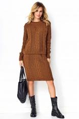 Brązowy Efektowny Komplet w Warkocze Sweter+ Spódnica