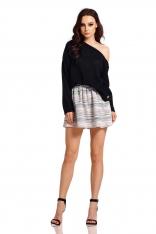 Czarny Lekki Zmysłowy Sweter z Szerokim Dekoltem