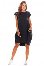 Czarna Oversizowa Sukienka z Dużymi Kieszeniami