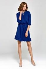 Niebieska Lekka i Zwiewna Sukienka z Falbanką