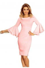 Różowa Sukienka Dopasowana Wizytowa z Hiszpańskim Rękawem