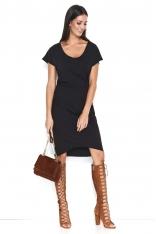Czarna Asymetryczna Sukienka z Marszczeniem na Boku
