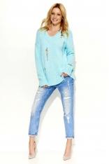 Miętowy Sweter Dłuższy Melanżowy z Dziurami