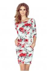 Sukienka Ściągana w Czerwone Róże