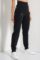 Dresowe Spodnie z Suwakami - Czarne