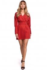 Sukienka Kopertowa z Bufiastym Rękawem - Czerwona