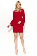 Czerwona Sukienka Mini z Dzwonkowym Rękawem