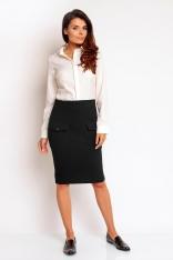 Czarna Modna Ołówkowa Midi Spódnica z Nakładanymi Kieszeniami