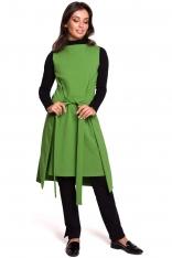 Limonkowa Efektowna Dresowa Sukienka bez Rękawów