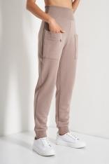 Dresowe Spodnie z Suwakami - Beżowe
