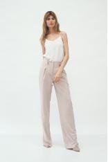 Szerokie Spodnie z Ozdobnymi Patkami - Beżowe