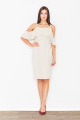 Elegancka Beżowa Sukienka Midi z Falbanką przy Dekolcie