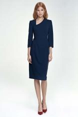 Granatowa Sukienka z Asymetrycznym Dekoltem