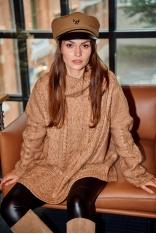 Oversizowy Sweter z Golfem w Warkocze - Kamelowy