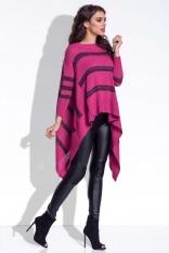 Amarantowy Sweter Asymetryczny w Paski