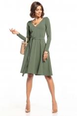 Rozkloszowana Sukienka w Szpic - Zielona
