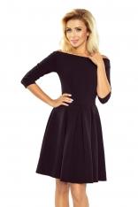Czarna Sukienka Rozkloszowana z Szerokim Dekoltem