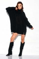 Czarny Sweter-Tunika z Golfem w Warkocze