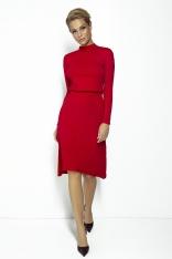 Czerwona Rozkloszowana Sukienka na Stójce z Wiązaniem