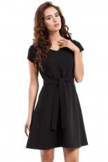 Czarna Sukienka Rozkloszowana z Wiązanym Paskiem