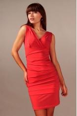 """Czerwona Wyjściowa Drapowana Sukienka z Dekoltem """"V"""" na Szerokich Ramiączkach"""