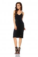 Czarna Sukienka Swetrowa na Cienkich Ramiączkach