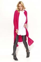 Amarantowy Długi Sweter-Płaszcz z Rozciętymi Bokami