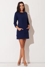Niebieska Dresowa Sukienka z Kieszenią Kangurka