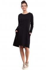 Czarna Sukienka Trapezowa z Kieszeniami