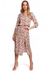 Sukienka Midi w Kwiatki z Rozcięciem z Przodu - Model 5