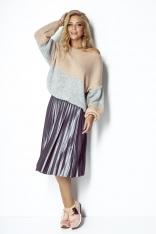 Pudrowo-Szary Dwukolorowy Sweter z Bufiastym Rękawem