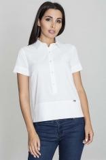 Biała Bluzka Polo z Krótkim Rękawem