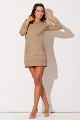 Beżowa Dresowa Sukienka z Kieszenią Kangurka