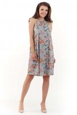 Szara Zwiewna Sukienka Mini w Kwiatowy Wzór z Wiązanym Dekoltem