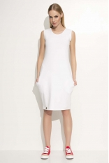 Biała Sukienka Dresowa Midi bez Rękawów z Kieszeniami
