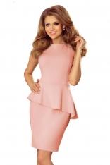 Jasnoróżowa Sukienka Ołówkowa bez Rękawów z Asymetryczną Baskinką