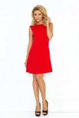 Czerwona Sukienka Trapezowa Mini bez Rękawów