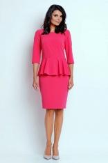 Różowa Wizytowa Sukienka Mini z Baskinką