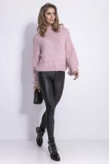 Pudrowy Stylowy Sweter z Półgolfem