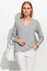 Szary Melanż Klasyczny Luźny Sweter z Dekoltem w Szpic