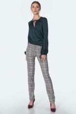 Eleganckie Spodnie w Kratę z Prostą Nogawką